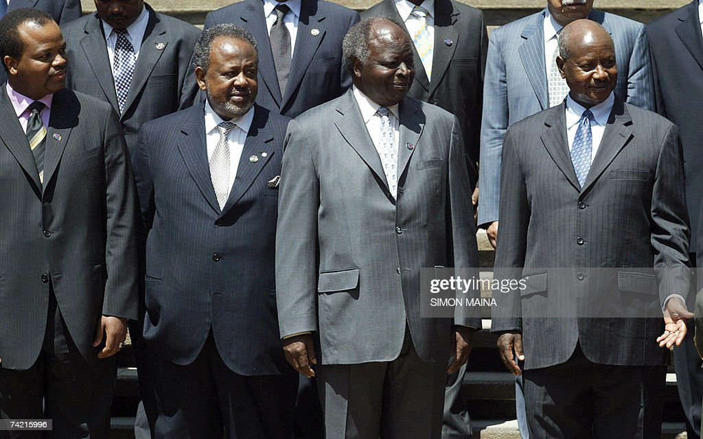 Ugandan President Yoweri Museveni, Kenyan President Mwai Kibaki, Djibouti President Ismael Guelleh and Swaziland King Mswati chat 22 May 2007 while on break from the 12th two-day summit of the Common Market for Eastern and Southern Africa (COMESA) at UN headquarters in Nairobi. The heads of state and government are due to approve important steps toward customs union, set to be launched next year, after their trade ministers last week agreed on a common external tariff deal.