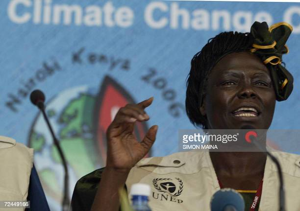 Kenyan 2004 Nobel peace prize laureate Wangari Mathai smiles 08 November 2006 as she launches a twomilliondollar treeplanting project to rehabilitate...