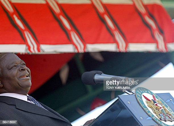 Kenyan President Mwai Kibaki gives a speech during the 42nd Jamhuri day celebrations commemorating Kenya's independence from Britain in Nairobi Kenya...