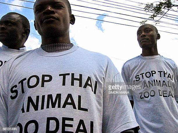 Kenyan wild life activists demonstrate in front of a Nairobi shopping mall where a Thai expo is opening 10 November 200 against the decision of the...