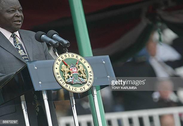 Kenya's President Mwai Kibaki makes an address 20 October 2005 on Kenyatta day commemorating the sufferance of Kenya's founding fathers at the hands...