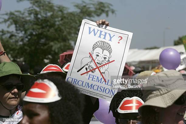 Members of African Gay and Lesbian communities demonstrate against female genital mutilation 23 January 2007 at the Nairobi World Social Forum venue...