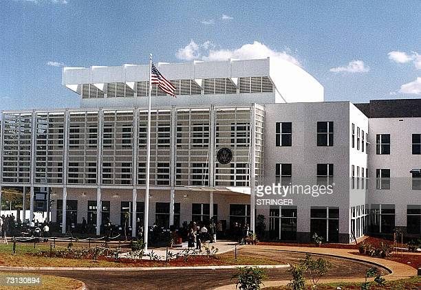 Picture shows a general view of the American embassy in Nairobi taken in June 2004 Two female passengers of a US embassy vehicle were shot dead in...