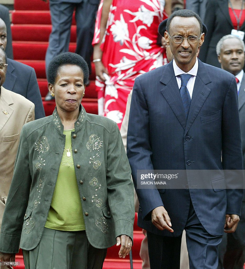 Rwandan President Paul Kagame (R) is escorted by UN executive director for Habitat, Anna Tibaijuka, as he arrives 22 May 2007 to attend the 12th two-day summit of the Common Market for Eastern and Southern Africa (COMESA) at UN headquarters in Nairobi. The heads of state and government are due to approve important steps toward customs union, set to be launched next year, after their trade ministers last week agreed on a common external tariff deal.