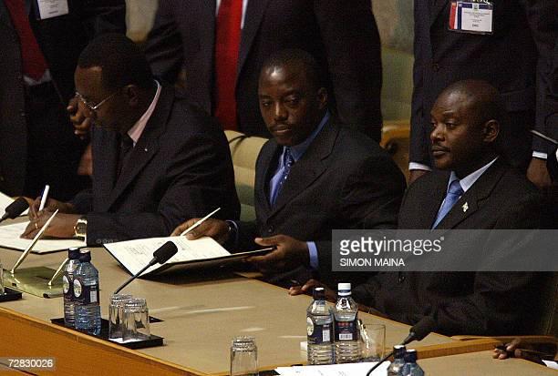 Rwandan Prime Minister Bernard Makuza Democratic Republic of Congo President Joseph Kabila and his Burundian counterpart Pierre Nkurunzinza of...
