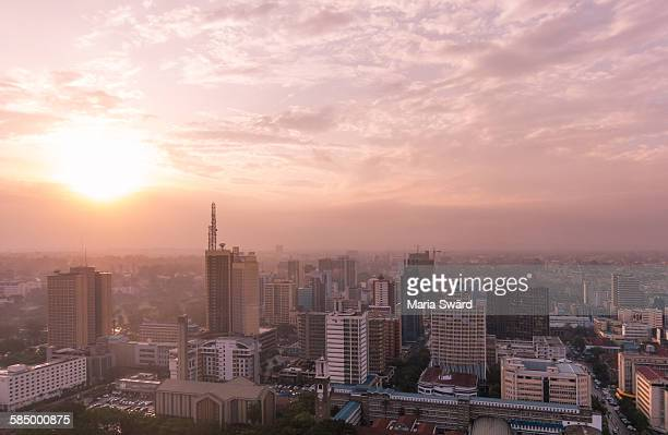 nairobi - sunset over the rooftops - nairobi stock pictures, royalty-free photos & images