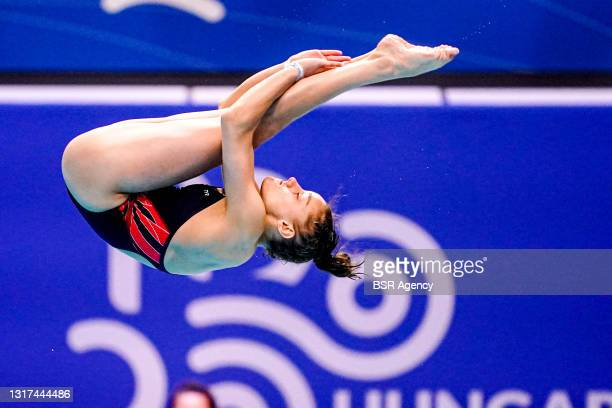 Nais Gillet of France competing at the Team Event Preliminary during the LEN European Aquatics Championships 1m Springboard Preliminary at Duna Arena...
