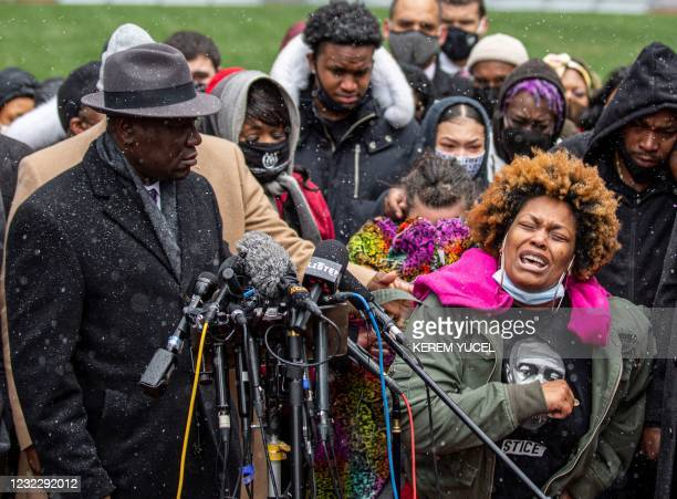 Naisha Wright , Daunte Wright's aunt, grieves during a press conference at the Hennepin County Government Center in Minneapolis, Minnesota on April...