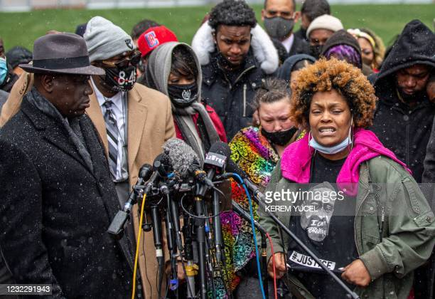 Naisha Wright , Daunte Wright's aunt, speaks during a press conference at the Hennepin County Government Center in Minneapolis, Minnesota on April...