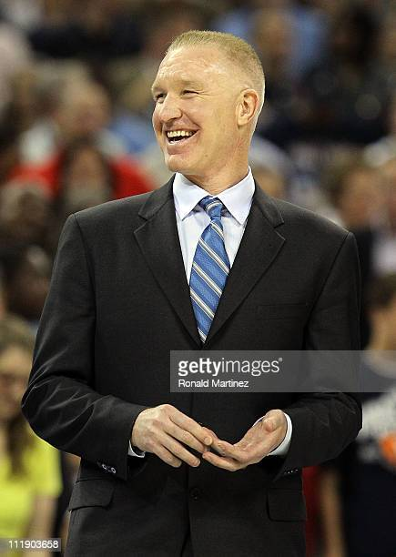 Naismith Memorial Basketball Hall of Fame 2011 inductee Chris Mullin looks on during halftime of the National Championship Game of the 2011 NCAA...