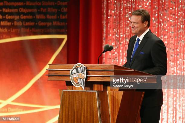 Naismith Memorial Basketball Hall of Fame Class of 2017 enshrinee Bill Self speaks during the 2017 Basketball Hall of Fame Enshrinement Ceremony at...