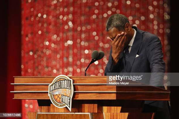 Naismith Memorial Basketball Hall of Fame Class of 2018 enshrinee Maurice Cheeks reacts as he speaks during the 2018 Basketball Hall of Fame...