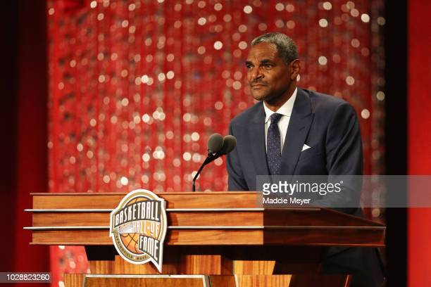 Naismith Memorial Basketball Hall of Fame Class of 2018 enshrinee Maurice Cheeks speaks during the 2018 Basketball Hall of Fame Enshrinement Ceremony...