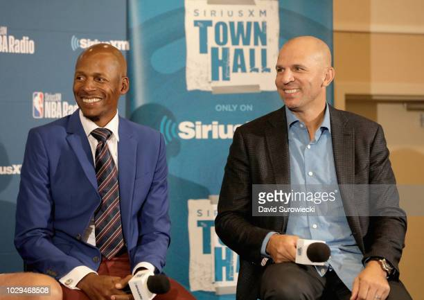Naismith Memorial Basketball Hall of Fame Class of 2018 Inductees Ray Allen and Jason Kidd attend the SiriusXM NBA Radio Hall Of Fame Town Hall with...