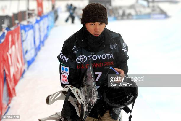 Naito Ando of Japan competes in a qualifying round of the FIS Snowboard World Cup 2018 Men's Snowboard Halfpipe during the Toyota US Grand Prix on...