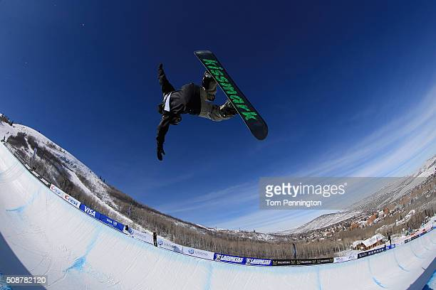Naito Ando of Japan in action en route to second place finish in the men's FIS Snowboard World Cup at the 2016 US Snowboarding Park City Grand Prix...