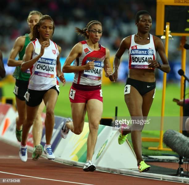 LR Najah Choujaya Sanaa Benhama and Somaya Bousaid Women's 1500m T13 Final during IPC World Para Athletics Championships at London Stadium in London...
