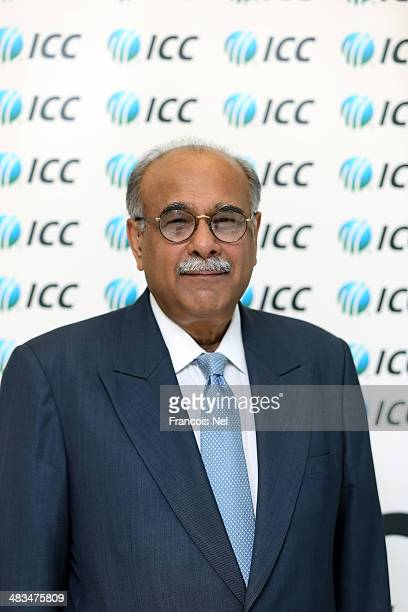 Najam Sethi Chairman of the Pakistan Cricket Board is pictured during the ICC Board Meeting at the ICC headquarters on April 9 2014 in Dubai United...