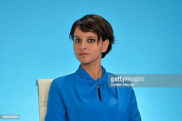 Najat VallaudBelkacem French Minister of National Education Higher Education visits the prefecture of Aisne on March 13 2015 in Laon France The...