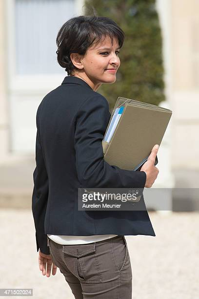 Najat VallaudBelkacem French Minister of National Education Higher Education and Research leaves the Elysee Palace after the weekly cabinet meeting...