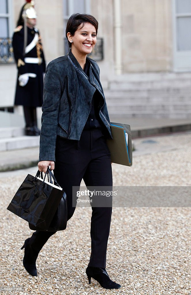 Najat Vallaud-Belkacem, French Minister of National Education, Higher Education and Research leaves after the weekly cabinet meeting at the Elysee Presidential Palace on January 4, 2016 in Paris, France. It is the first cabinet meeting of the year 2016.
