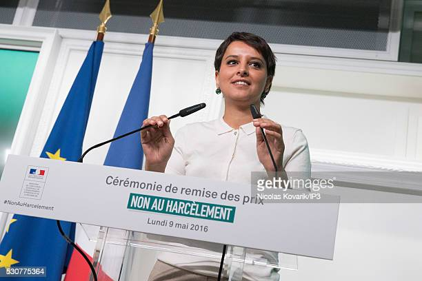 Najat VallaudBelkacem French Minister of National Education Higher Education and Research speaks in the awards that reward ten student winners of the...