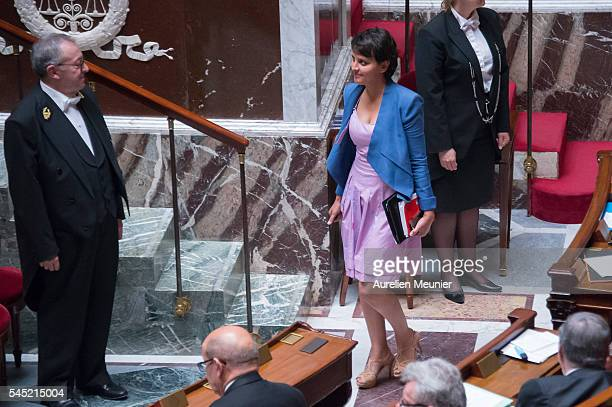 Najat VallaudBelkacem French Minister of National Education Higher Education and Research arrives for the weekly questions to the government at...