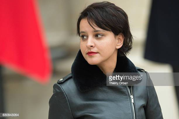 Najat VallaudBelkacem French Minister of National Education Higher Education and Research leavesthe first weekly cabinet meeting of the year at the...