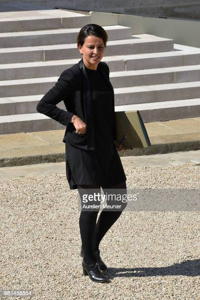 Najat VallaudBelkacem French Minister of National Education Higher Education and Research leaves the Elysee Palace after French President Francois...