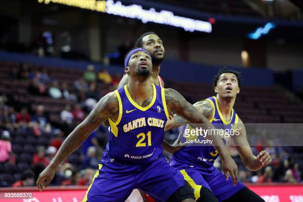 Najeal Young of the Santa Cruz Warriors boxes out against the Memphis Hustle during an NBA GLeague game on March 10 2018 at Landers Center in...