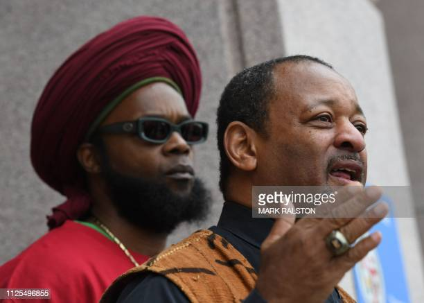 Najee Ali of Project Islamic Hope holds a press conference to call for the arrest and prosecution of 'Empire' television series star Jussie Smollett...