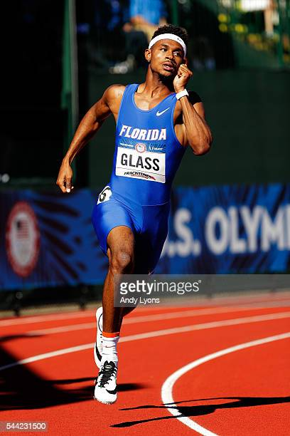 Najee Glass runs in round one of the Men's 400 Meter Dash during the 2016 US Olympic Track Field Team Trials at Hayward Field on July 1 2016 in...