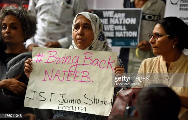 Najeebs mother Fatima Nafees , author Arundhati Roy , members of civil society and student-activists from Jawaharlal Nehru University protest on the...