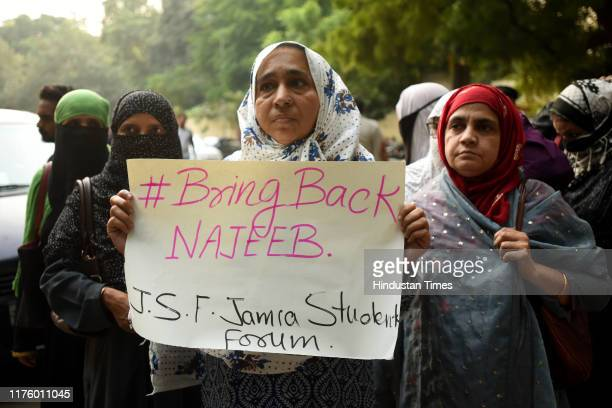 Najeebs mother Fatima Nafees , members of civil society and student-activists from Jawaharlal Nehru University protest on the third anniversary of...