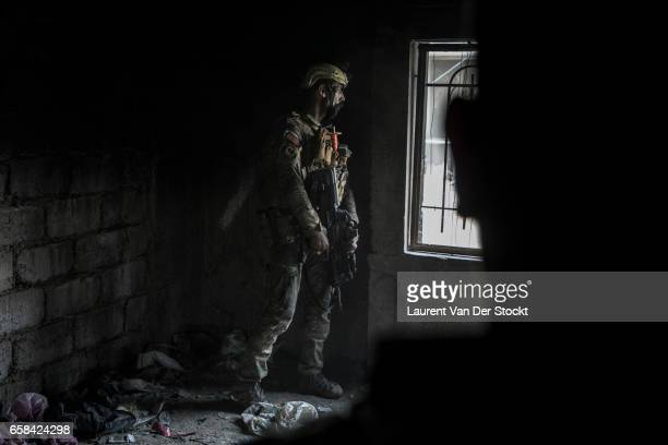 Naji a soldier of the Iraqi Federal Police Emergency Response Division during a battle on their last position of the Wednesday Market on the...