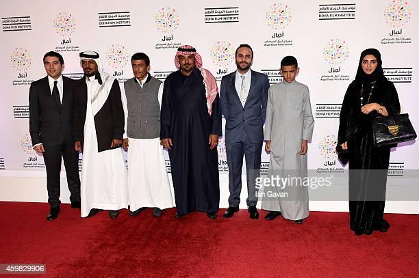 Naji Abu Nowar Hassan Mutlag Hussein Al Salameh Jasser Salameh Bassel Ghandour Jacir Eid and Festival Director Fatma Al Remaihi attend the Theeb...