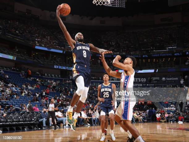 Naji Marshall of the New Orleans Pelicans drives to the basket against the Philadelphia 76ers on October 20, 2021 at the Smoothie King Center in New...