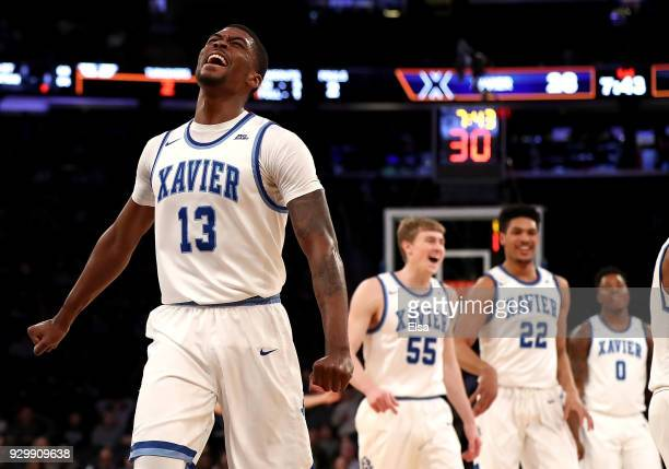 Naji Marshall of the Xavier Musketeers reacts in the first half against the Providence Friars during semifinals of the Big East Basketball Tournament...