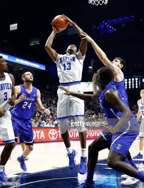 Naji Marshall of the Xavier Musketeers shoots the ball against the Creighton Bluejays at Cintas Center on January 13 2018 in Cincinnati Ohio