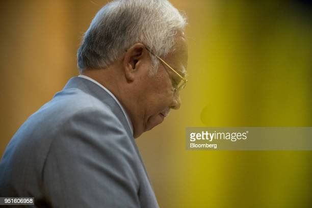 Najib Razak Malaysia's prime minister attends the launch of the National Cancer Institute in Putrajaya Malaysia on Tuesday April 24 2018 Five years...