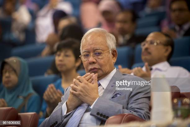 Najib Razak Malaysia's prime minister prays during the launch of the National Cancer Institute in Putrajaya Malaysia on Tuesday April 24 2018 Five...