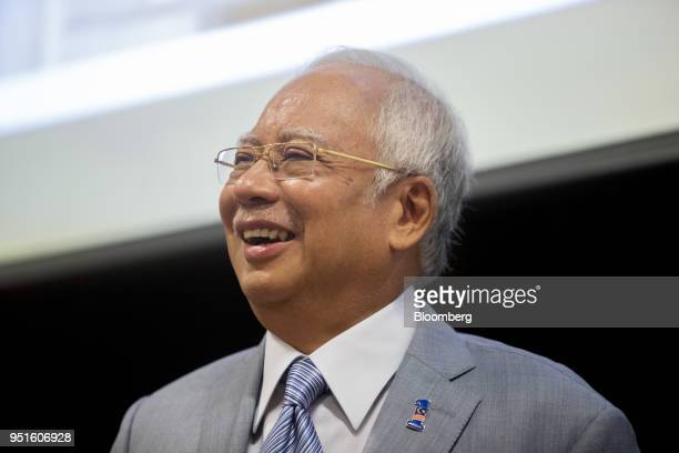 Najib Razak Malaysia's prime minister reacts during the launch of the National Cancer Institute in Putrajaya Malaysia on Tuesday April 24 2018 Five...