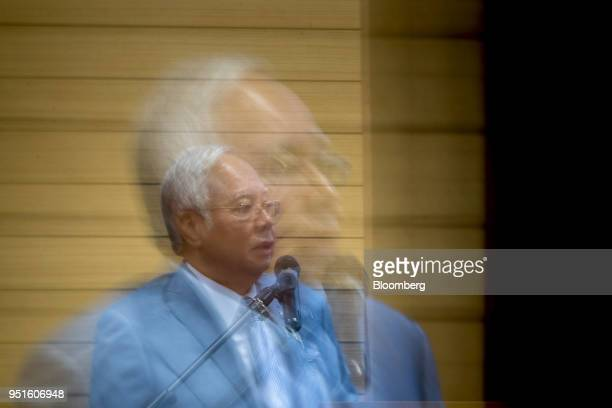 Najib Razak Malaysia's prime minister speaks during the launch of the National Cancer Institute in Putrajaya Malaysia on Tuesday April 24 2018 Five...