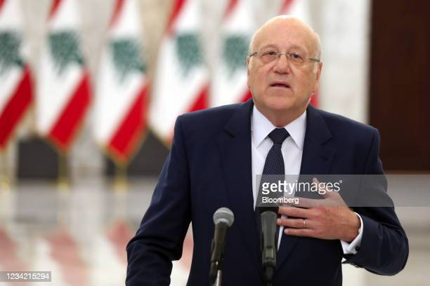 NajibMikati, Lebanon's prime minister designate, speaks during a news conference at the Presidential Palace in Beirut, Lebanon, on Monday, July 26,...
