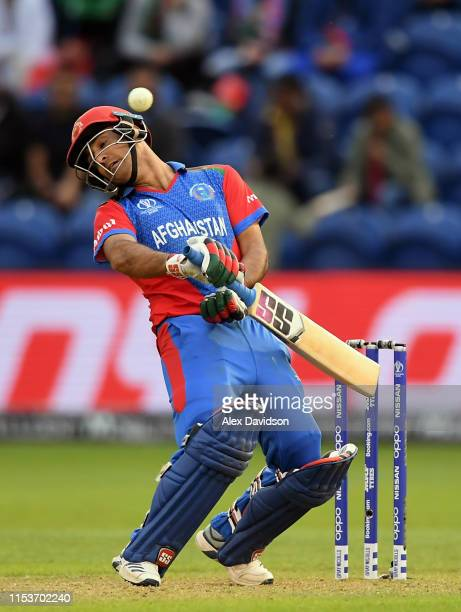 Najibullah Zadran of Afghanistan gets out the one of a delivery during the Group Stage match of the ICC Cricket World Cup 2019 between Afghanistan...