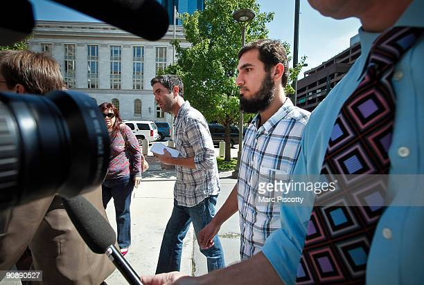 Najibullah Zazi arrives at the Byron G Rogers Federal Building in downtown with his attorney Art Folsom September 17 2009 in Denver Colorado Zazi has...