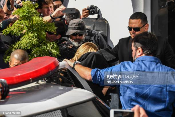 TOPSHOT Najila Trindade Mendes de Souza arrives at the Women's Defense Precinct in Sao Paulo Brazil on June 7 2019 Trindade Mendes de Souza appeared...