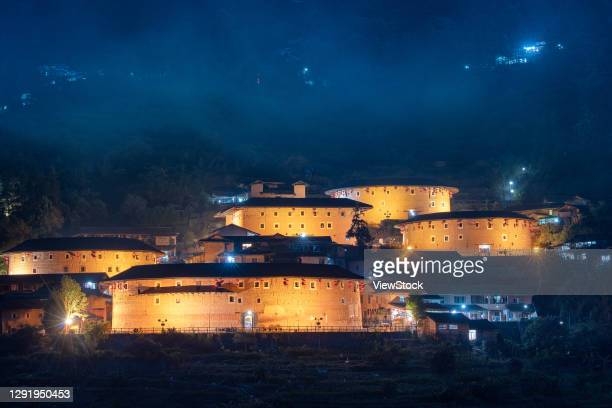 najing tulou in fujian province - fujian tulou stock pictures, royalty-free photos & images