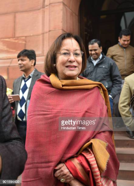 Najma Heptullrah during the last day of the parliament winter session at Parliament House on January 5 2018 in New Delhi India The last day of the...