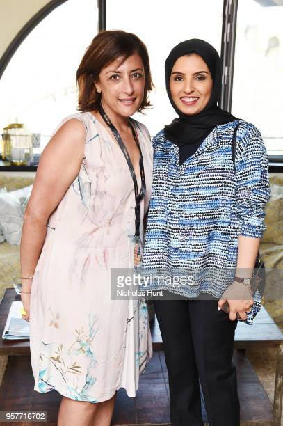 Najwa Najjar and CEO of Doha Film Institute Fatma Al Remaihi attend the Doha Film Institute reception to celebrate the films supported by the...